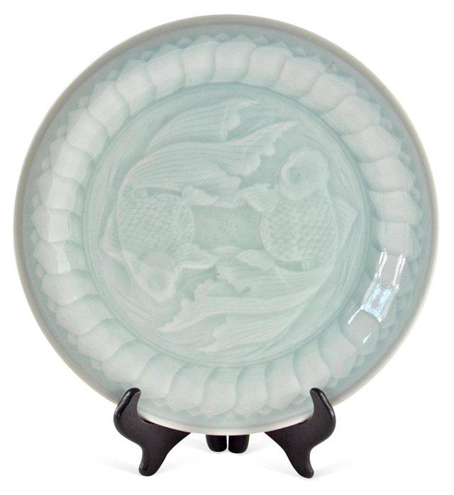 Celadon Koi Plate w/ Stand