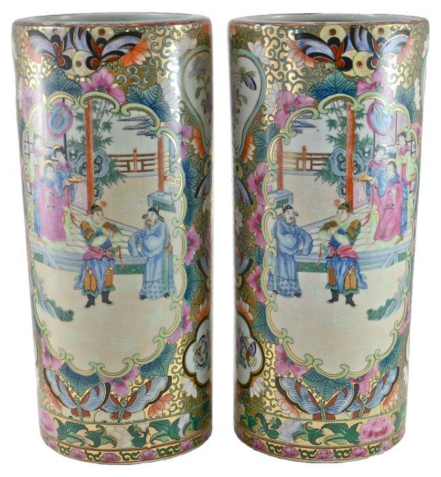 Famille Rose Cylinder Vases, Pair