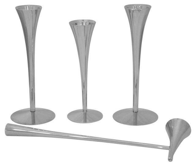 Silver Candleholders w/ Snuffer, 4 Pcs