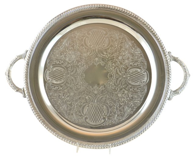 Silver Round Chased Handle Tray