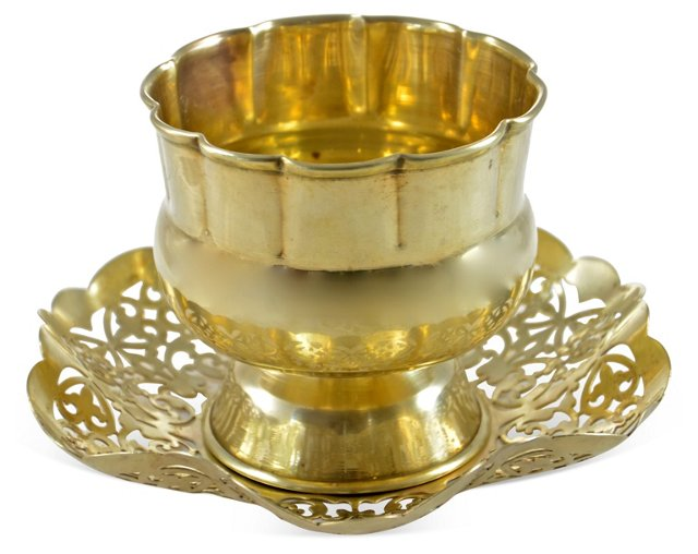 Brass Catchall w/ Tray, 2 Pcs