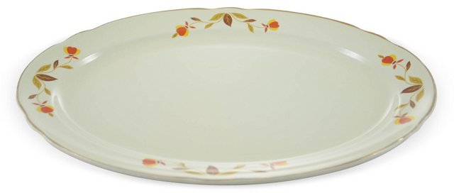 Red & Gold Oval Tray