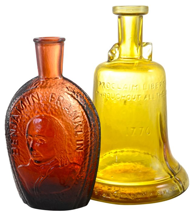 Patriotic Red & Amber Bottles, Pair