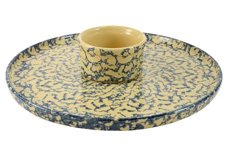Blue Spongeware Tray & Bowl