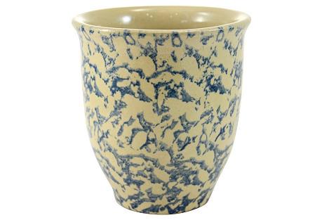 Blue Sponge Yellow Ware Jar