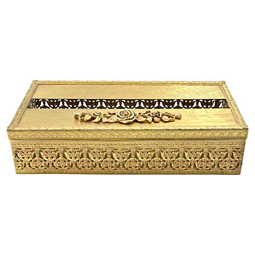 Gold Filigree Hinged Tissue Holder