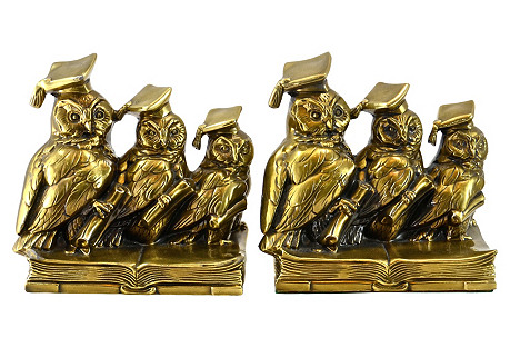 Gold Wise Owl Bookends