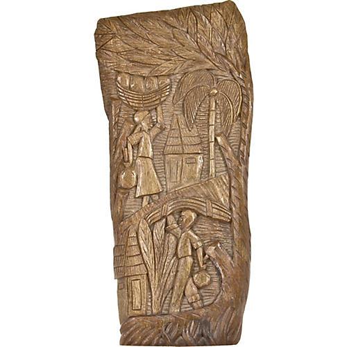 Hand-Carved Primitive Tribal Panel