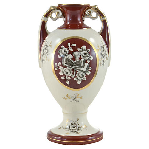 Burgundy & Gold Gilt Vase