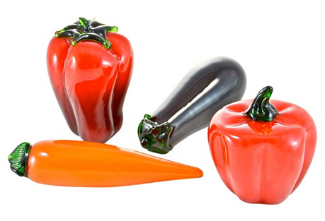 Blown-Glass Vegetables, S/4