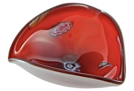 Red Millefiori Murano Art Glass Bowl