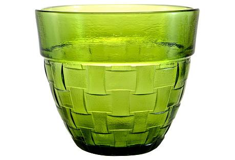 Green Basket-Weave Glass Pot
