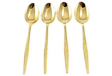 Gold Gilt Teaspoons, S/4