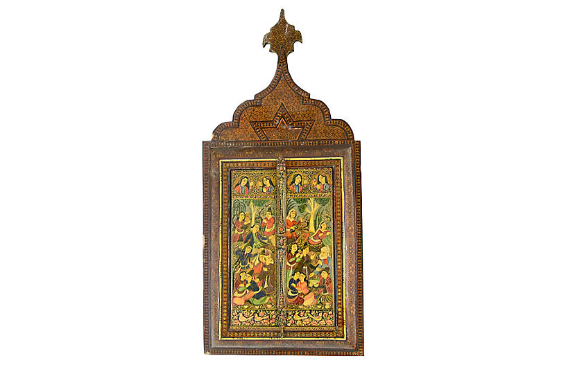 19th-C. Persian Marquetry Mirror