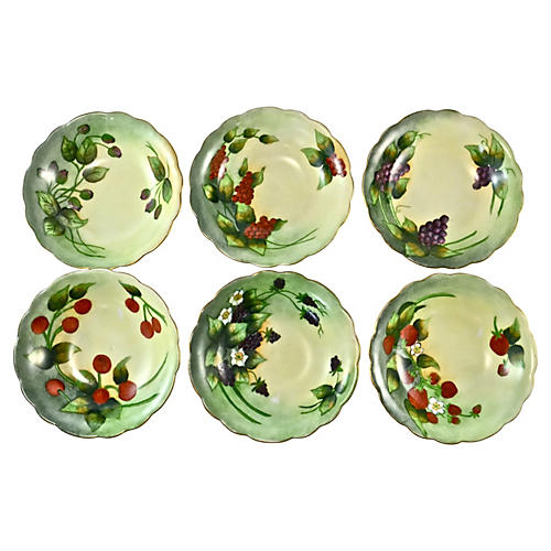 1910s Limoges Hand-Painted Bowls, S/6