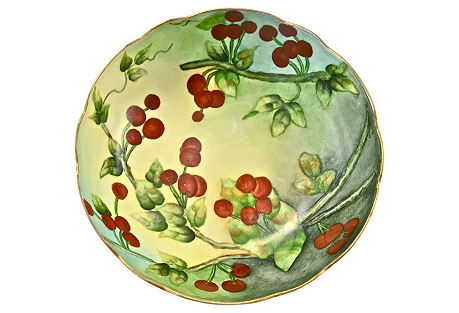 1910s Limoges Painted Cherries Bowl