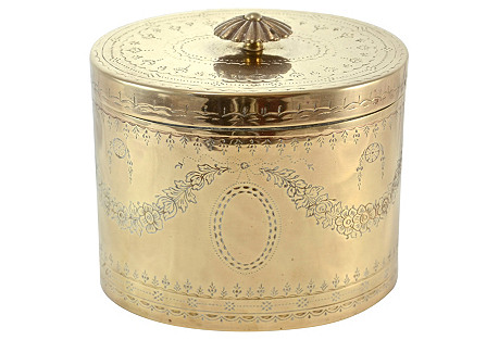 Oval Engraved Brass Box