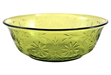 1950s Green Daisy Bowl