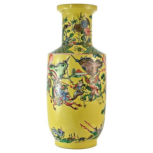 Yellow Chinese Warrior Vase