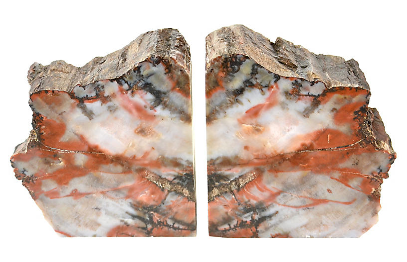 Raw-Edge Petrified Wood Bookends