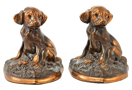 Copper Puppy Bookends