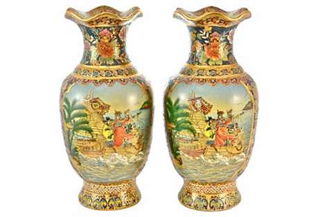 Aqua & Gold Chinoiserie Vases, Pair