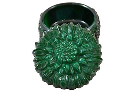 Malachite Glass Sunflower Box