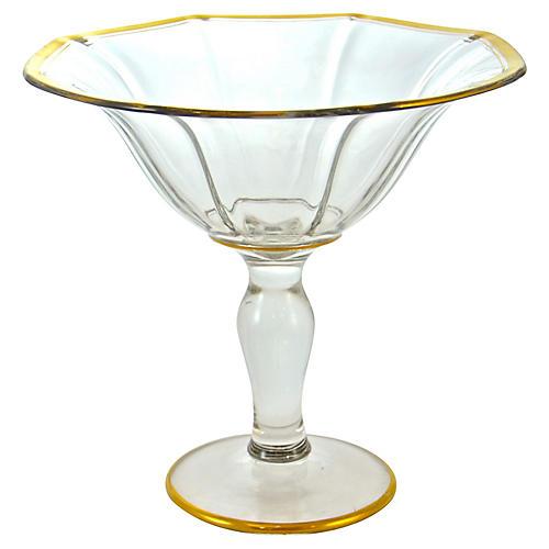Gold Rim Pedestal Bowl