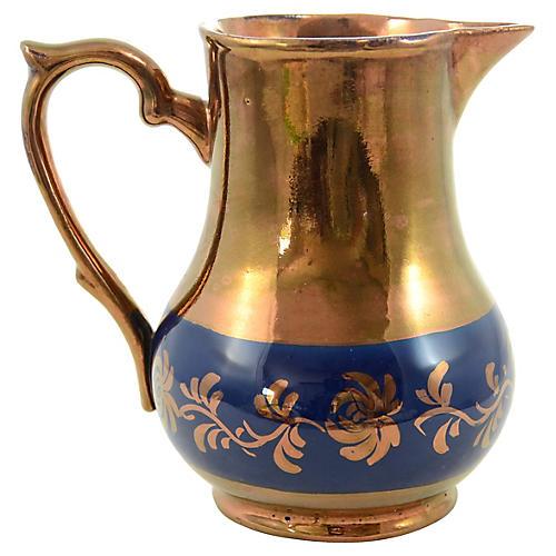 1890s English Copper Lusterware Pitcher