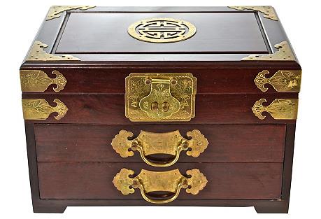 Chinoiserie Wood & Brass Jewelry Box