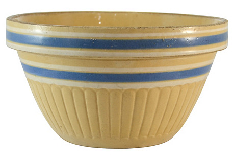 Blue & White Yellow Stoneware Bowl