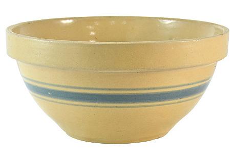 Aqua Stripe Yellow Stoneware Catchall