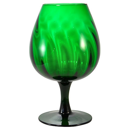 Emerald Optic Blown Glass Vase