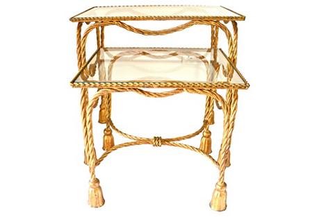 Gilt Tassel Nesting Tables, Pair