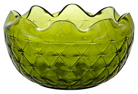 Green Midcentury Diamond Quilt Bowl
