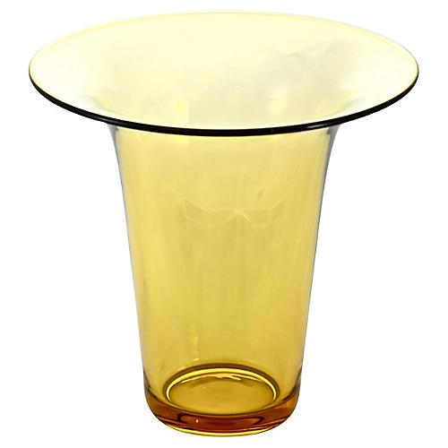 Amber Glass Trumpet Vase