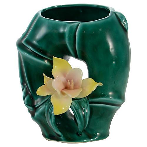 Green Bamboo Capodimonte Vase