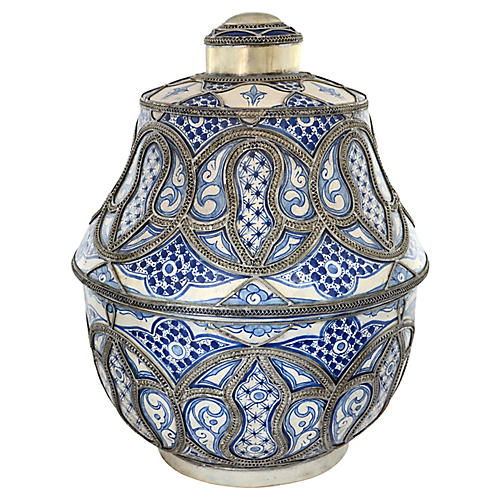 Blue & White Moroccan Oversize Urn