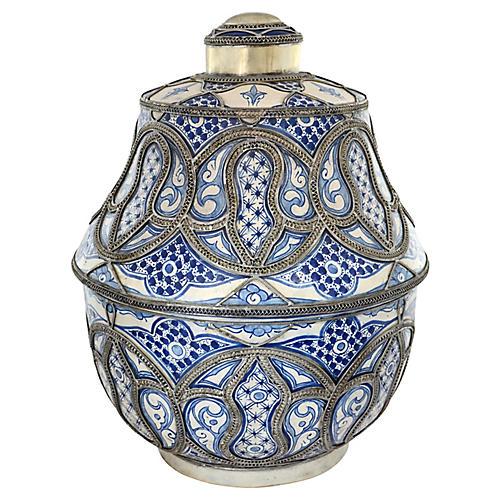 Blue & White Moroccan Oversize Urn