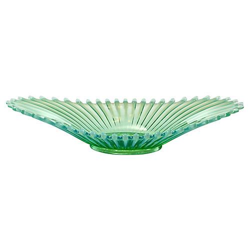 Aqua-Green Opalescent Ribbed Bowl