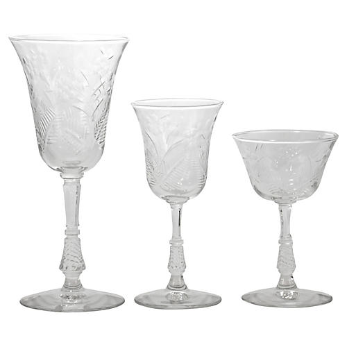 Cut-Crystal Stemware, 21 Pcs