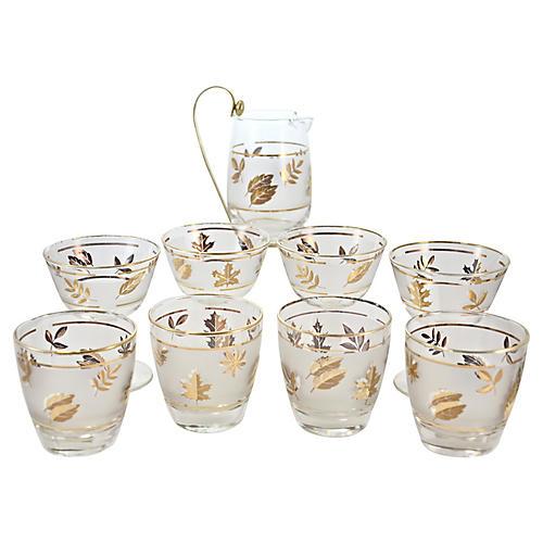Gold Leaf Pitcher & Glasses, 9 Pcs