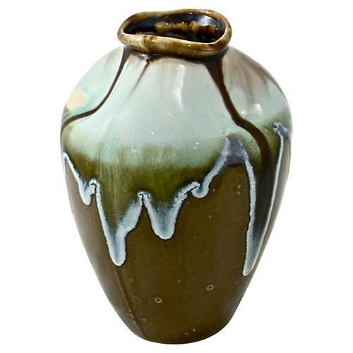 Aqua Drip-Glaze Pinched Vase