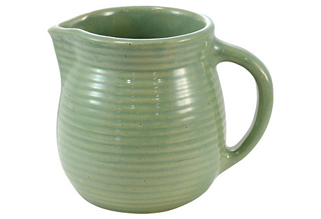 Sage Ribbed Stoneware Pitcher