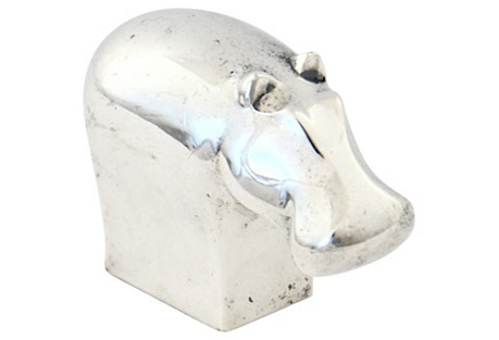 Silver Hippo Paperweight