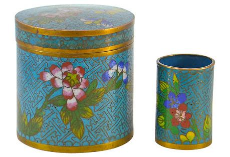 1920s Aqua Cloisonne Jars, S/2
