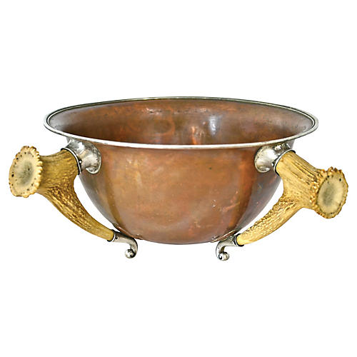 Antique Sterling, Copper & Horn Bowl