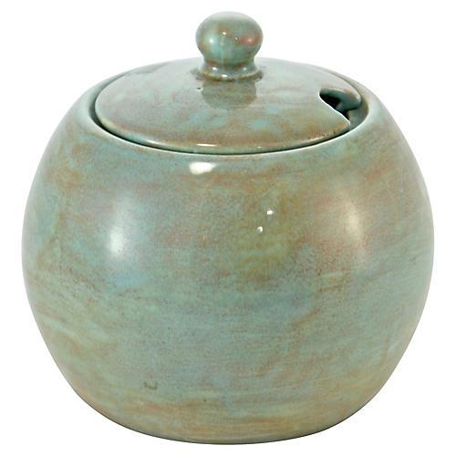 1950s Aqua Mustard Pot