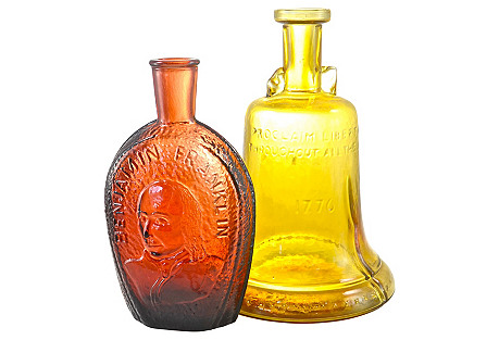 1970's Red & Amber Liquor Bottles, Pair