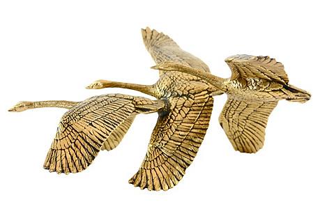 Brass Geese In Flight